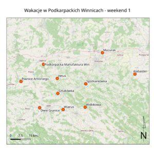 mapka zawierająca lokalizację winnic