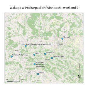 Mapka z lokalizacją winnic